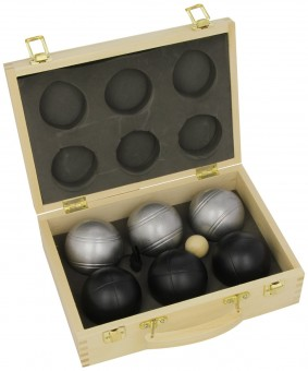 Boulekugel-Set 6 Stück LUXUS schwarz-silber im Holzkoffer