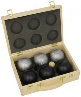 Boulekugel-Set 6 Stück LUXUS schwarz/silber im Holzkoffer