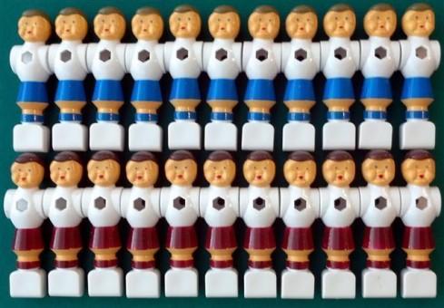 Kickerfiguren Champion weiß/blau und weiß/rot 22 Stck
