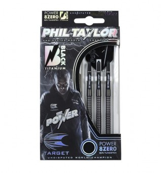 Target Phil Taylor POWER 8ZERO 23G Black Titanium RINGED Steeldarts