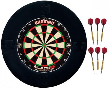 Winmau Blade 5 Dartscheibe mit 6 Pfeilen und Surround schwarz